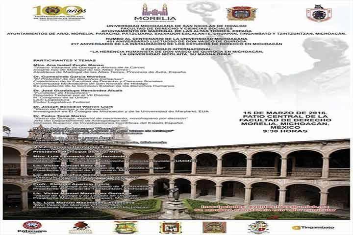 Rinde Universidad Michoacana homenaje a Don Vasco de Quiroga
